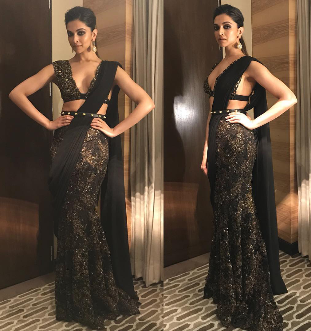 Deepika Padukone Was Looking Extremely Gorgeous In Black Saree at GQ ...