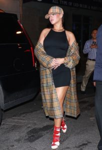 Rihanna Goes Topless And Exposed Side Boobs And Wearing Basketball Cap And Coat In NYC